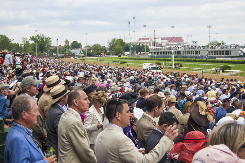 Kentucky Derby Crowd at Churchill Downs in Louisville, Kentucky USA. Crowd at the Kentucky Derby horse race at Churchill Downs in Louisville, Kentucky USA royalty free stock photo