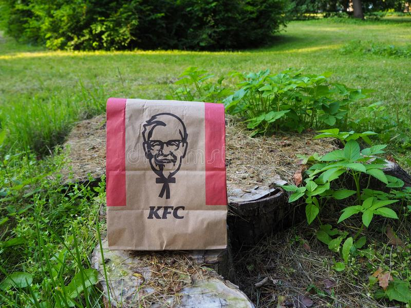 Kentucky Fried Chicken paper bag on a tree stump in the park. royalty free stock image