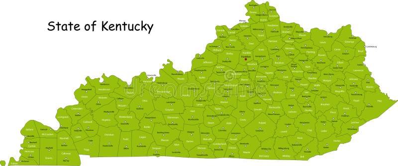 Kentucky mapa ilustracja wektor