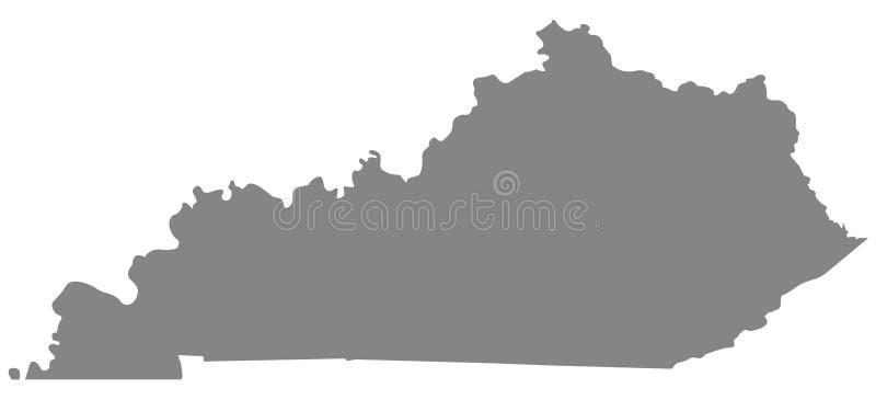 Kentucky mapa - wschodni centrala region Stany Zjednoczone royalty ilustracja