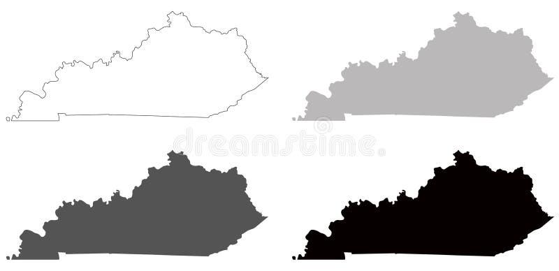 Kentucky mapa - wschodni centrala region Stany Zjednoczone ilustracja wektor