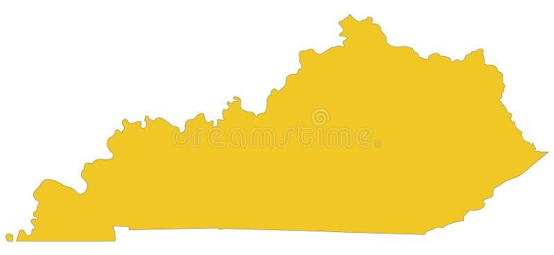 Kentucky mapa - wschodni centrala region Stany Zjednoczone ilustracji