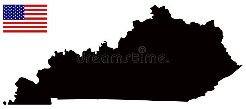 Kentucky mapa z usa flaga - wschodni centrala region Stany Zjednoczone royalty ilustracja