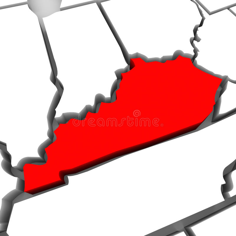Kentucky Red Abstract 3D State Map United States America royalty free illustration
