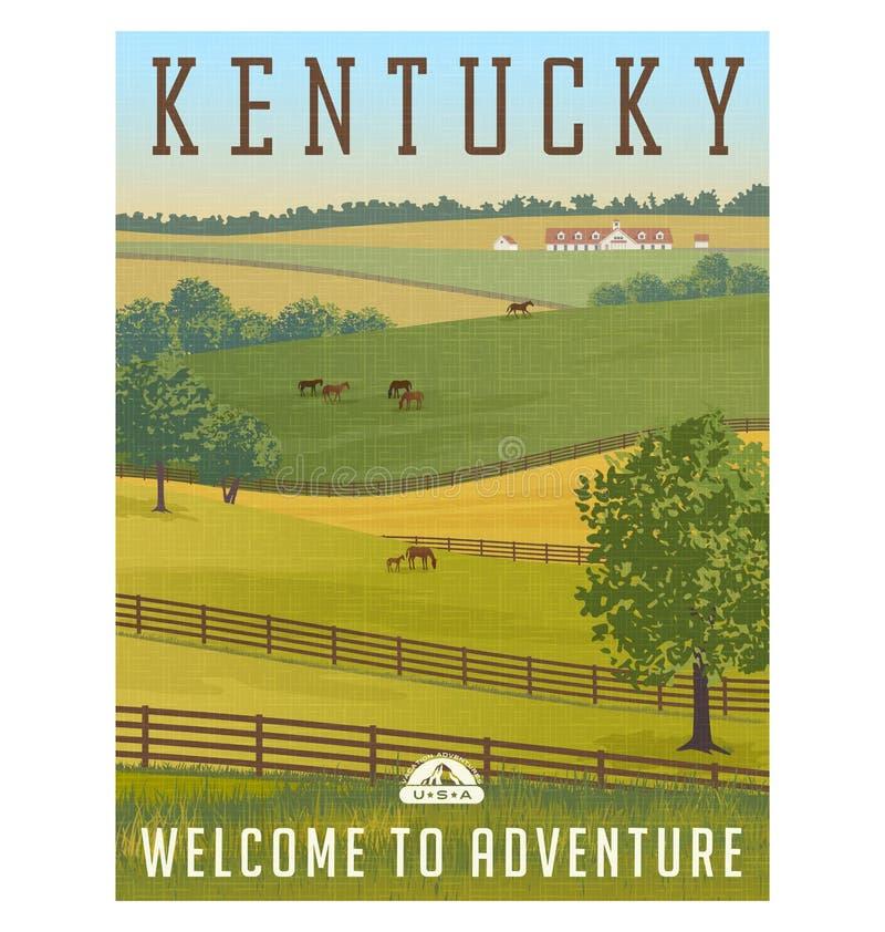 Kentucky Rolling Hills, Pferde, Zäune und Ställe stock abbildung