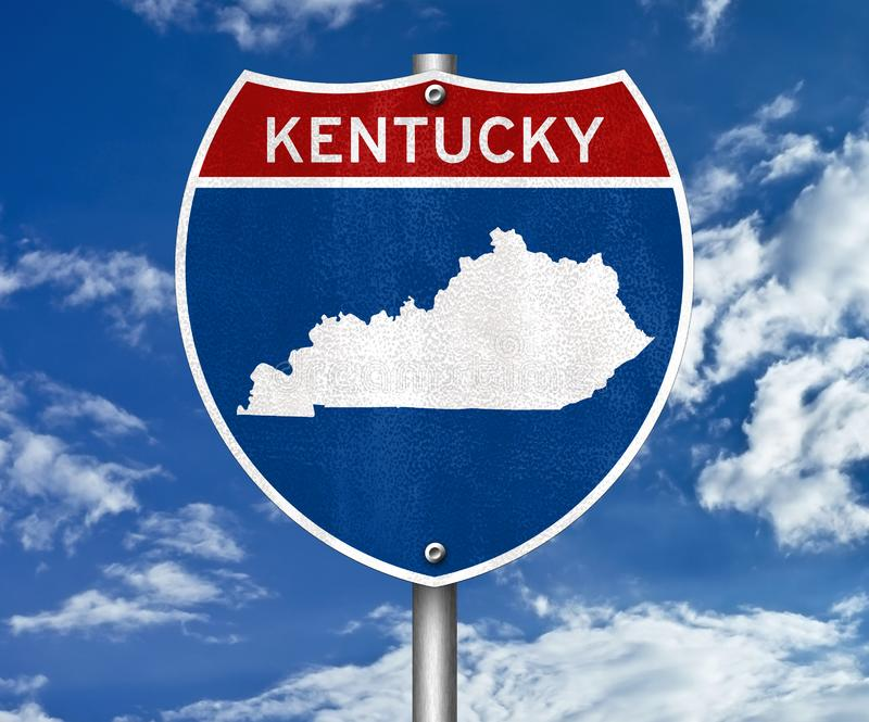 Kentucky state map. Road sign stock photography