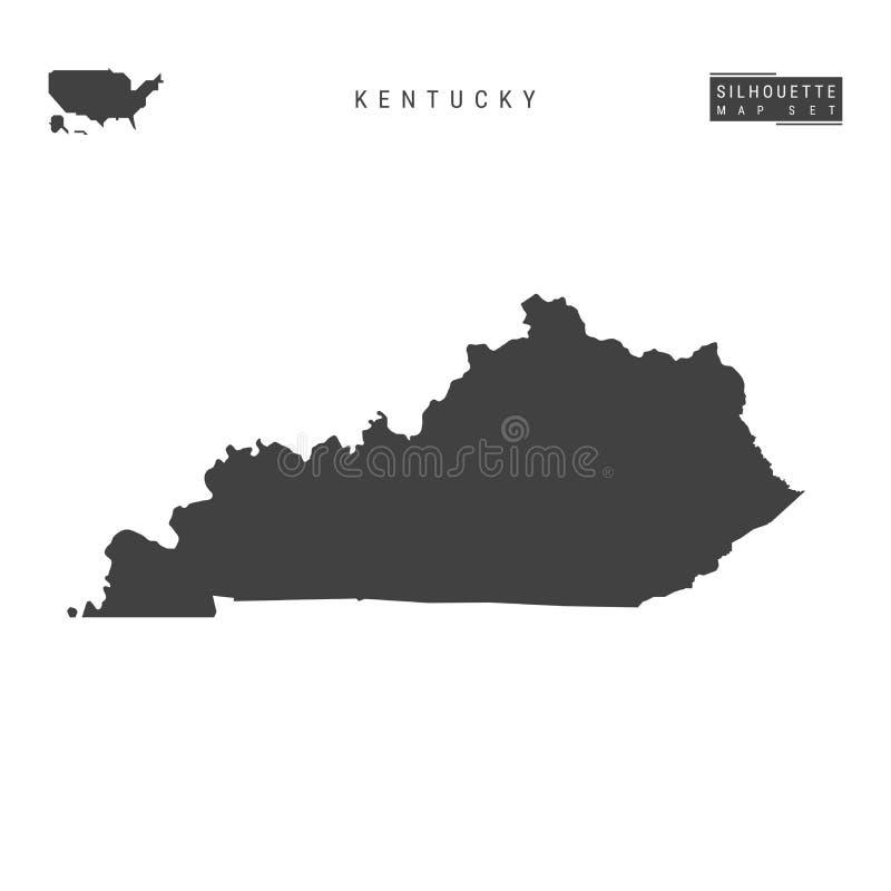 Kentucky USA påstår vektoröversikten som isoleras på vit bakgrund Hög-specificerad svart konturöversikt av Kentucky stock illustrationer