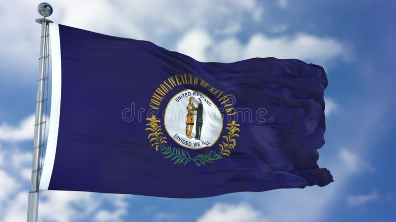 Kentucky Waving Flag. Kentucky U.S. state flag waving against clear blue sky, close up, isolated with clipping path mask luma channel, perfect for film, news royalty free stock photography