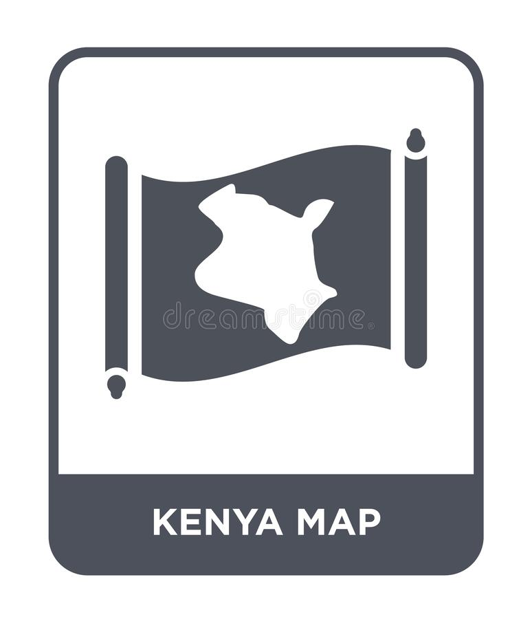 Kenya översiktssymbol i moderiktig designstil Kenya översiktssymbol som isoleras på vit bakgrund lägenhet för symbol för Kenya öv vektor illustrationer
