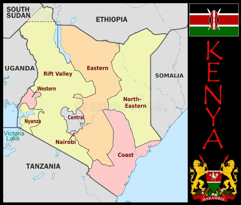 Kenya Administrative Divisions Stock Illustration Illustration of
