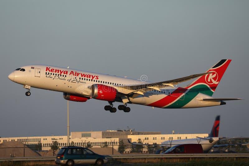 Kenya Airways a décollé de l'aéroport de Schiphol, l'AMS images stock
