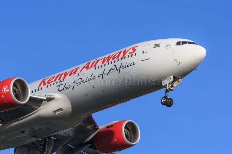 Kenya Airways echa en chorro foto de archivo libre de regalías