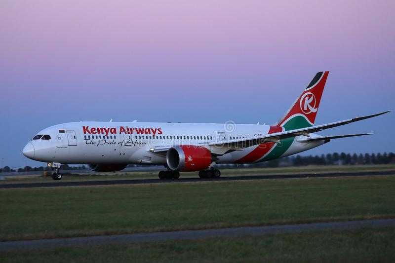 Kenya Airways taking off from Schiphol Airport, AMS. Kenya Airways taxiing on Schiphol Amsterdam Airport, AMS, Netherlands stock photo