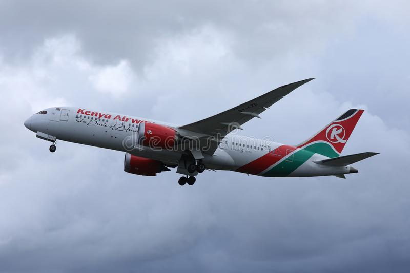 Kenya Airways took off from Schiphol Airport, AMS. Netherlands royalty free stock images