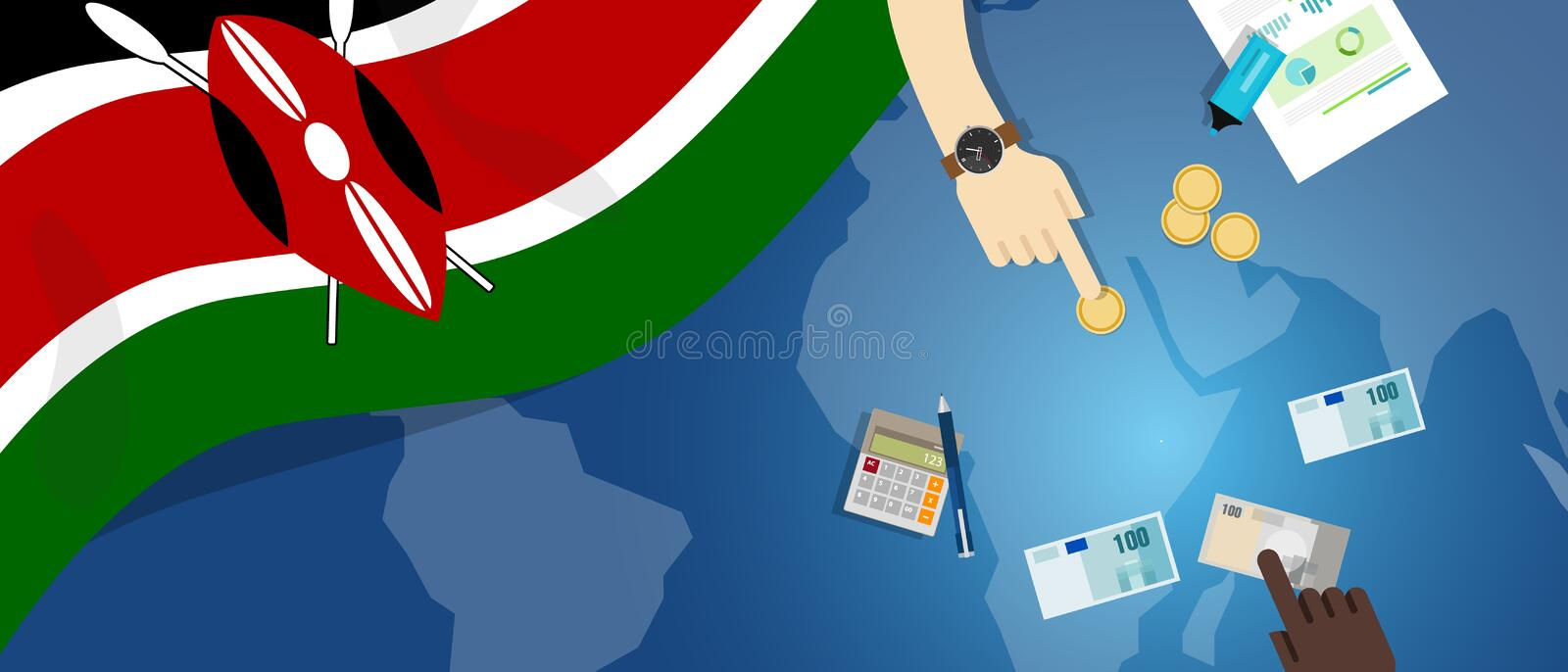 Kenya economy fiscal money trade concept illustration of financial banking budget with flag map and currency. Vector stock illustration