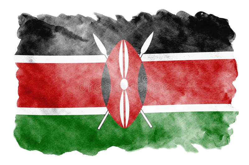 Kenya flag is depicted in liquid watercolor style isolated on white background. Careless paint shading with image of national flag. Independence Day banner stock illustration