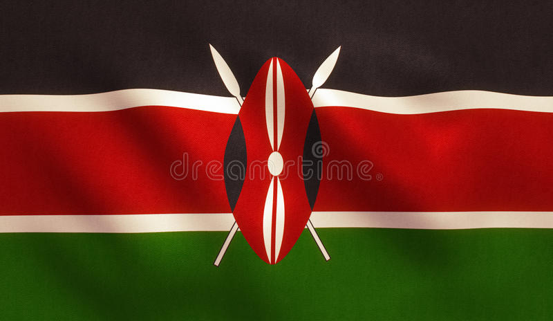 Kenya Flag. With fabric texture royalty free stock photos
