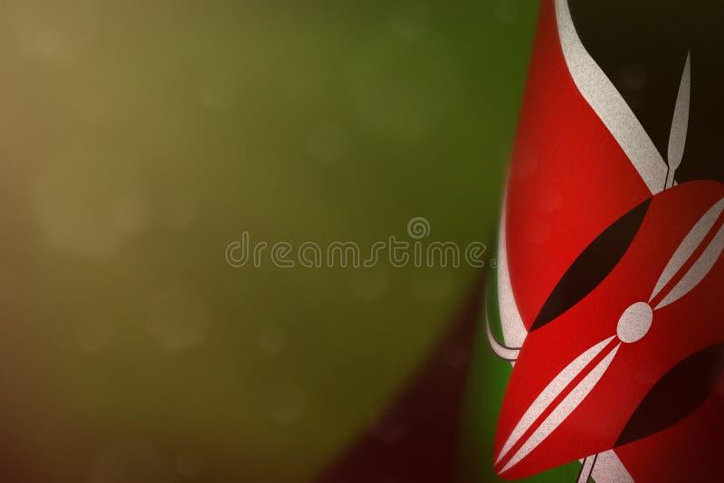 Kenya flag for honour of veterans day or memorial day. Glory to the Kenya heroes of war concept on green dark velvet background. Kenya hanging flag for honour of royalty free stock image