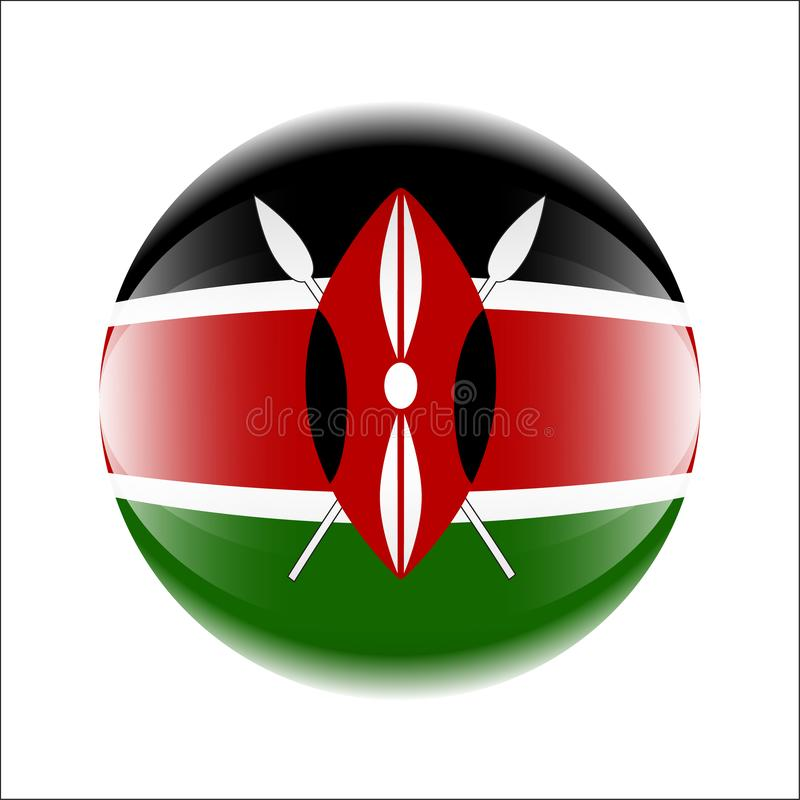 Kenya flag icon in the form of a ball. stock illustration