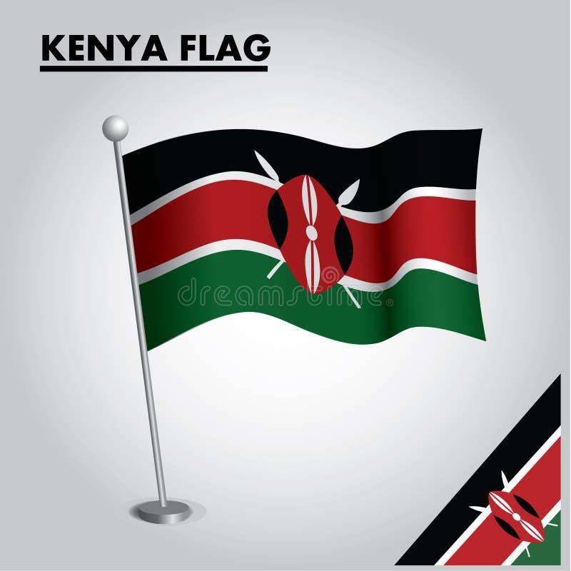 KENYA flagganationsflagga av KENYA på en pol stock illustrationer