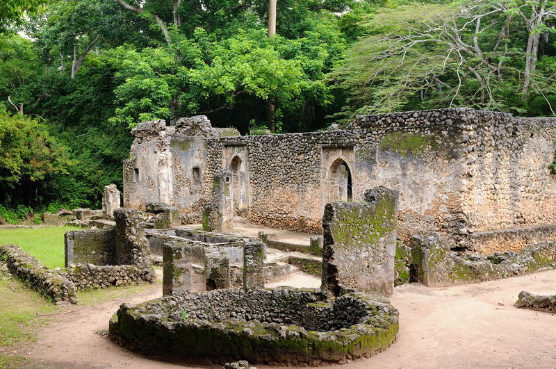 Kenya, Gede ruins laid in the vicinity of the Malindi resort. Kenya, Gede ruins are the remains of a Swahili town located in Gedi, a village near the coastal royalty free stock photography