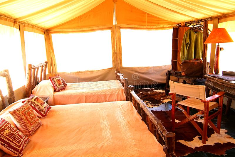 Kenya: A luxury safari tent for the accomodation of wildlife tourists. At Mara National park royalty free stock images