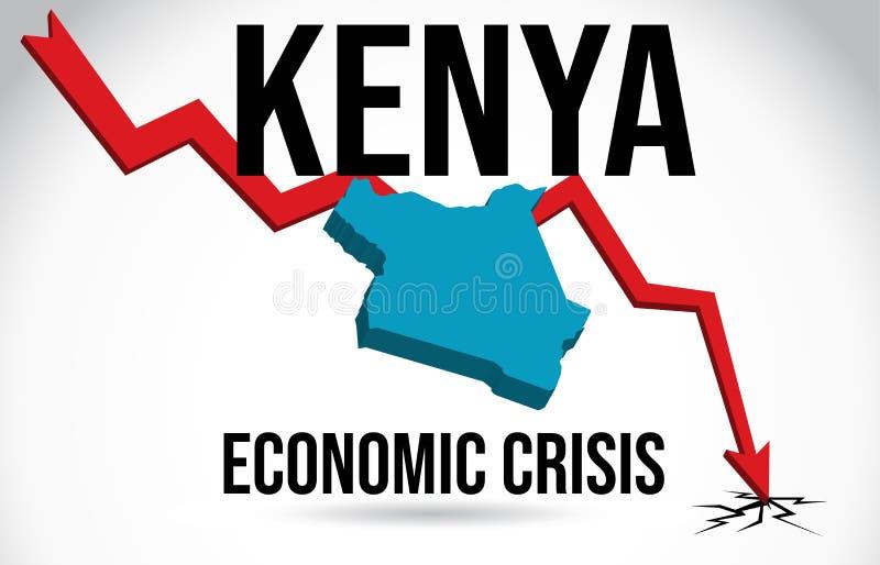 Kenya Map Financial Crisis Economic Collapse Market Crash Global Meltdown Vector. Illustration vector illustration