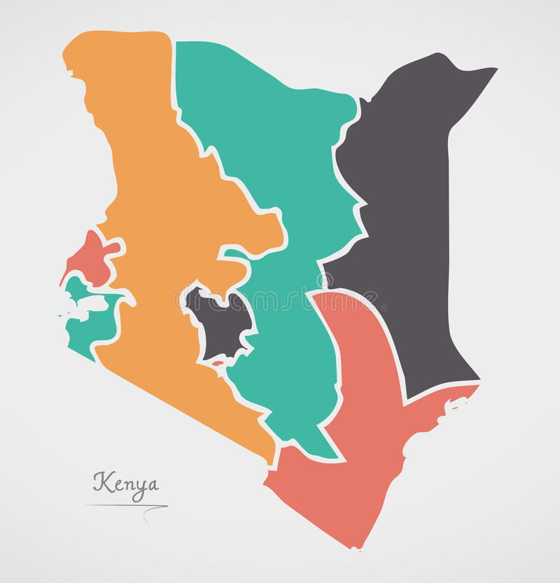 Kenya Map with states and modern round shapes. Illustration vector illustration