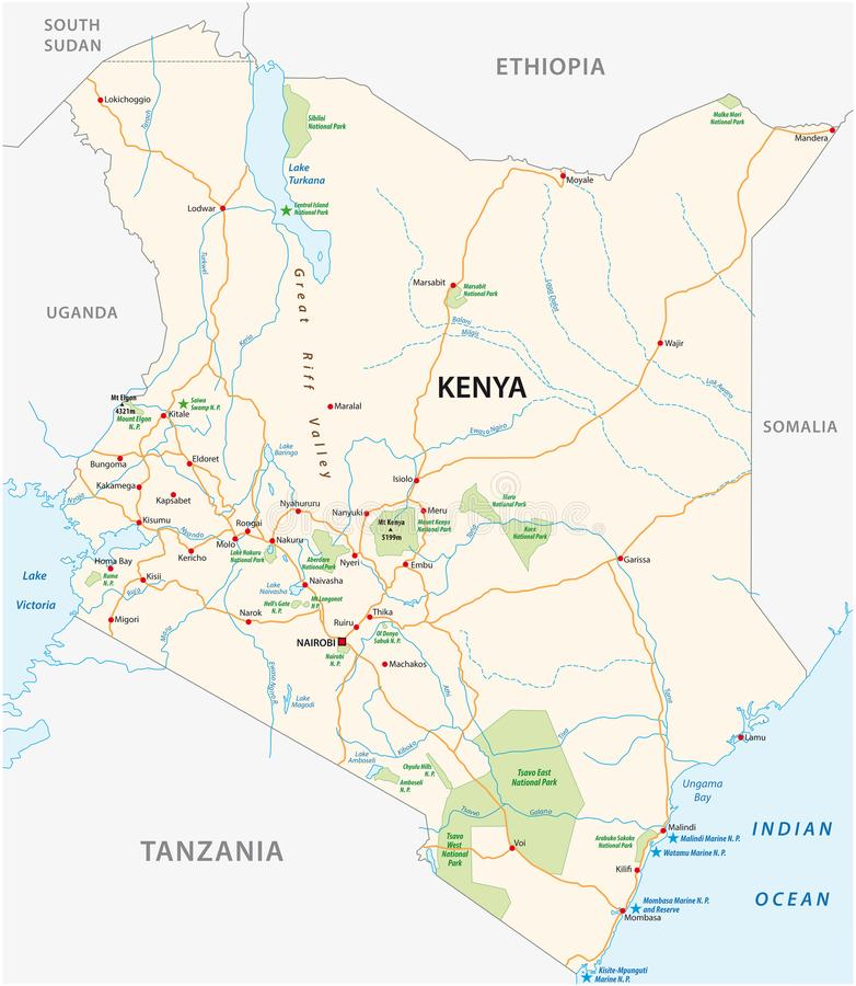 Kenya road and national park vector map royalty free illustration