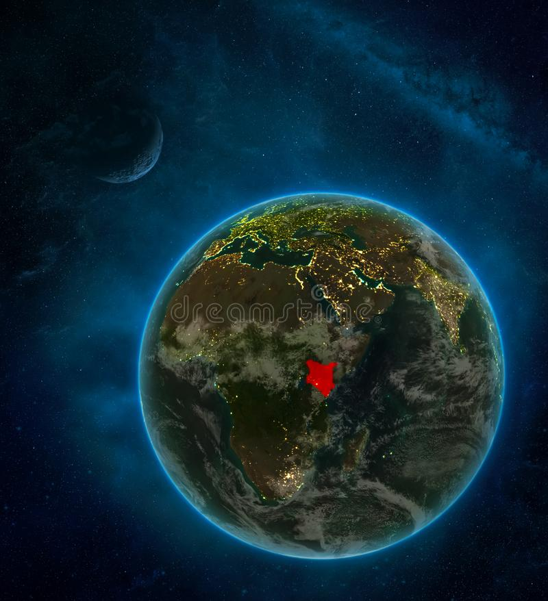Kenya from space on Earth at night surrounded by space with Moon and Milky Way. Detailed planet with city lights and clouds. 3D. Illustration. Elements of this vector illustration