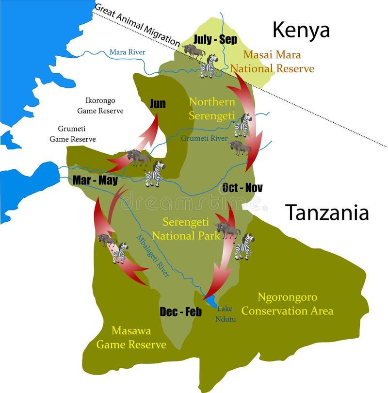 Free Kenya Tanzania Great Animal Migration Vector Stock Photo - 175247550