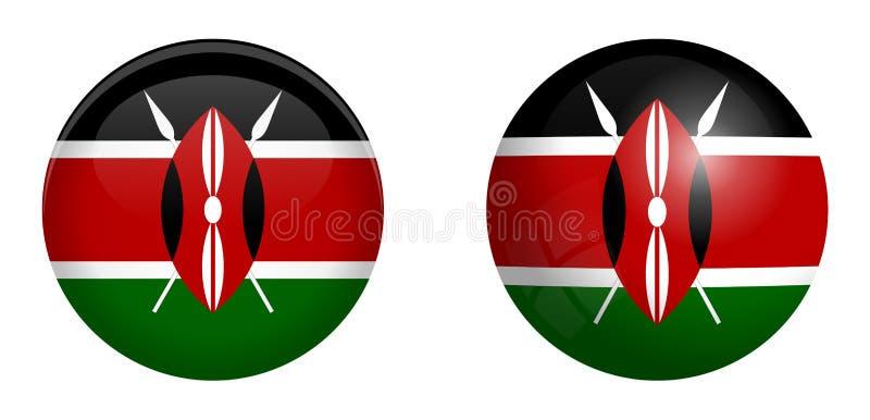 Kenyan Flagge unter Knopf der Haube 3d und auf glattem Bereich/Ball vektor abbildung