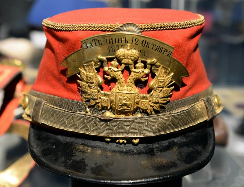 Kepi General Life guards hussar regiment with distinction `For Telish October 12, 1877» stock photos