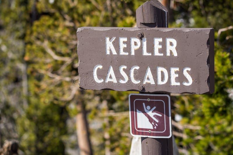 Kepler spada kaskadą halnych rzecznych gwałtownych - Yellowstone obywatela norma zdjęcie royalty free