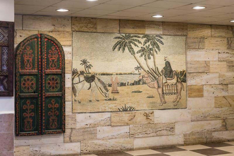 Picture - mosaic in a roadside shop - restaurant on the intercity highway near Kerak city in Jordan stock photo