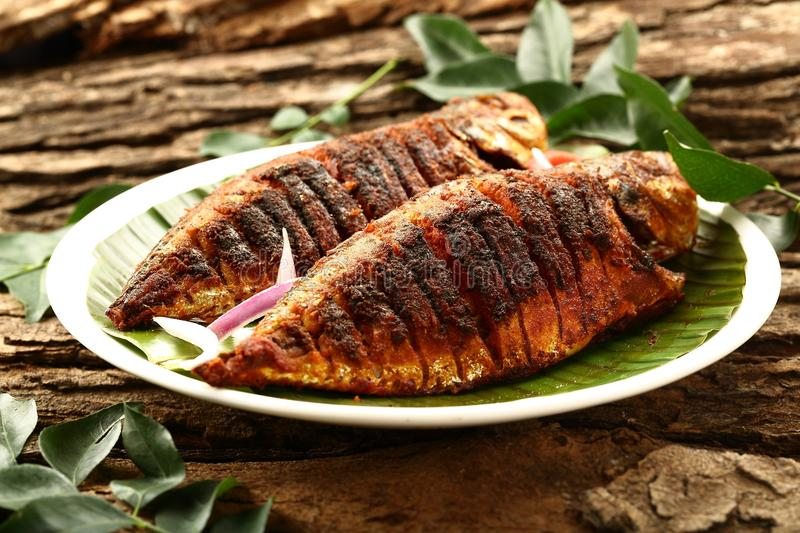 Kerala food- homemade fish fry- authentic recipe. royalty free stock image