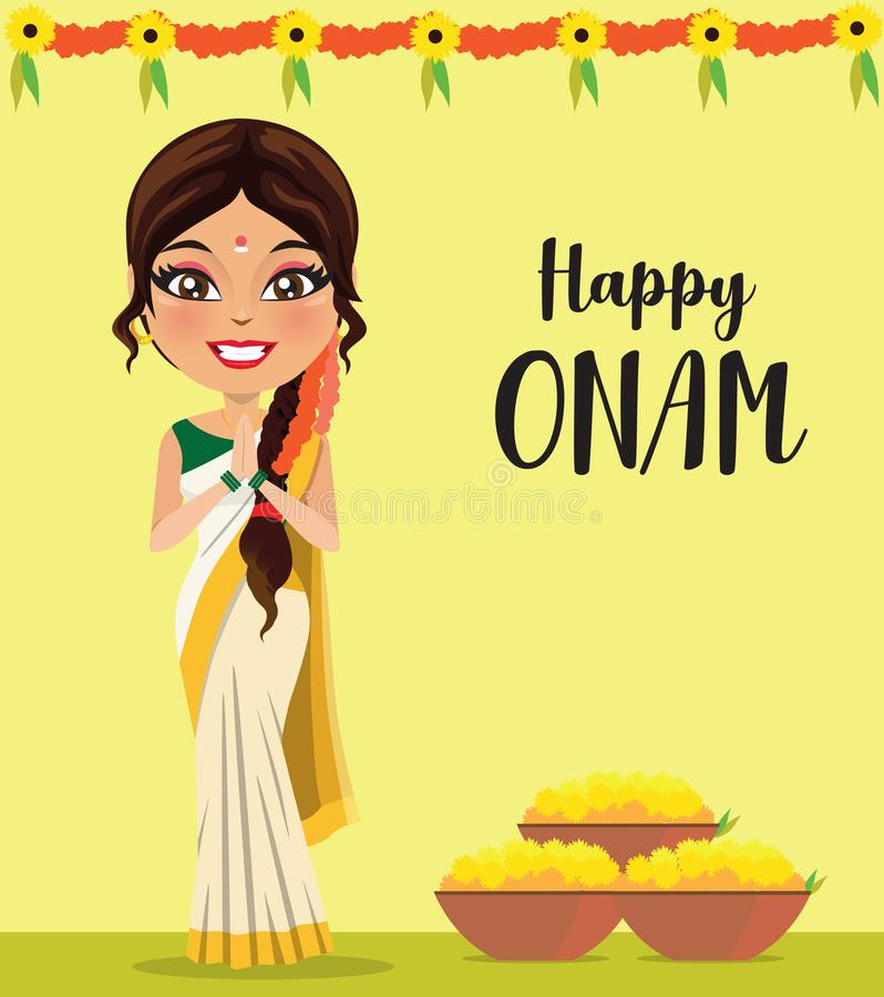 Indian woman from the state of Kerala in a traditional saree and flowers in basket - Vector royalty free illustration