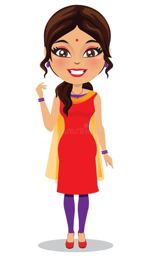 Indian woman wearing a salwar kameez suit - Vector royalty free illustration