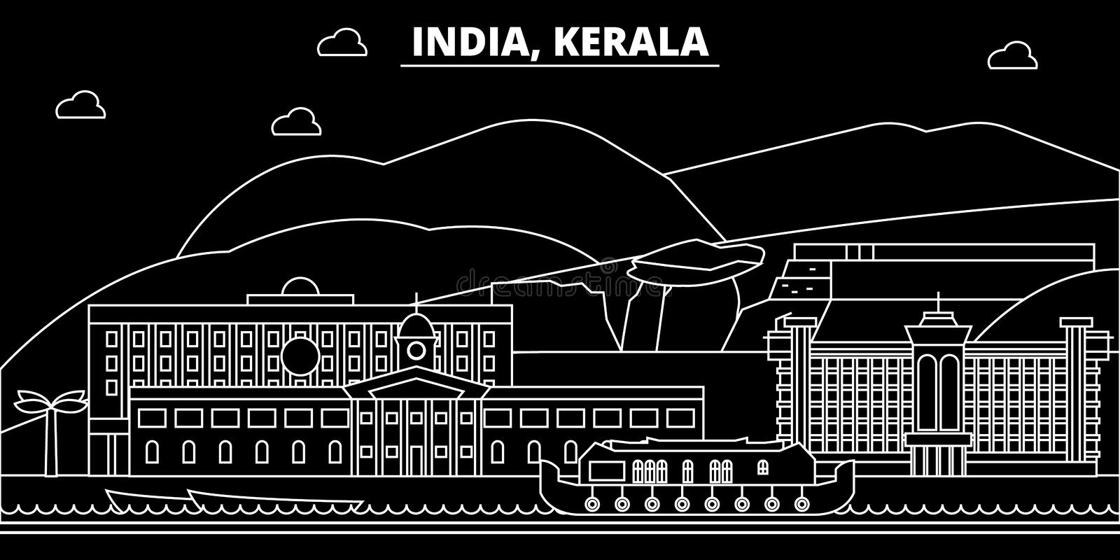 Kerala silhouette skyline. India - Kerala vector city, indian linear architecture, buildings. Kerala travel illustration. Kerala silhouette skyline. India stock illustration