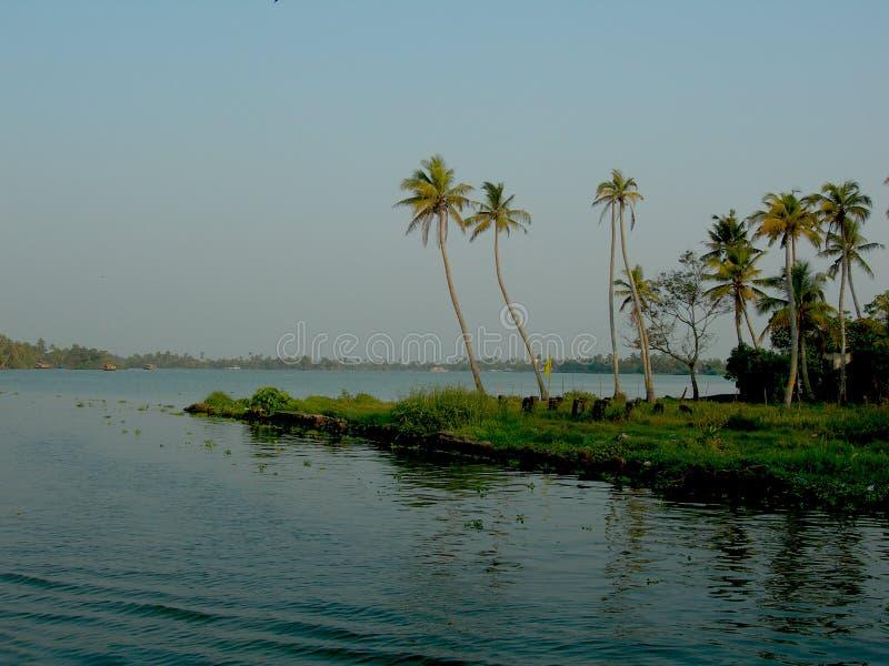 Kerala-Stauwasserhintergrund stockfotos