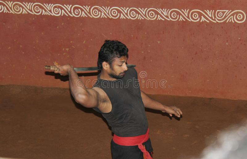 Kerala traditionella kampsporter royaltyfri fotografi