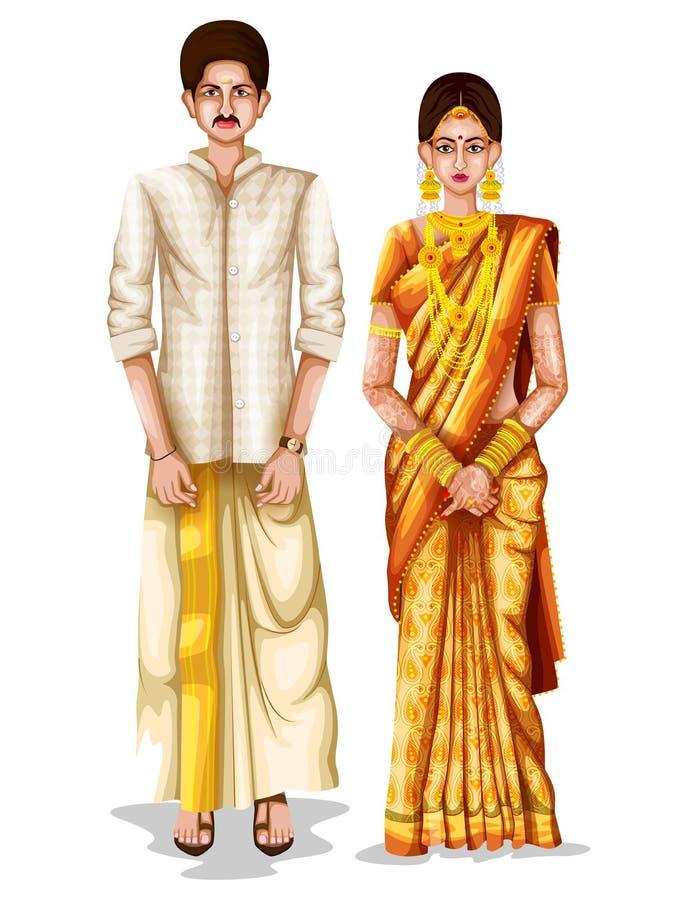 Keralite在喀拉拉,印度的传统服装的婚礼夫妇 库存例证