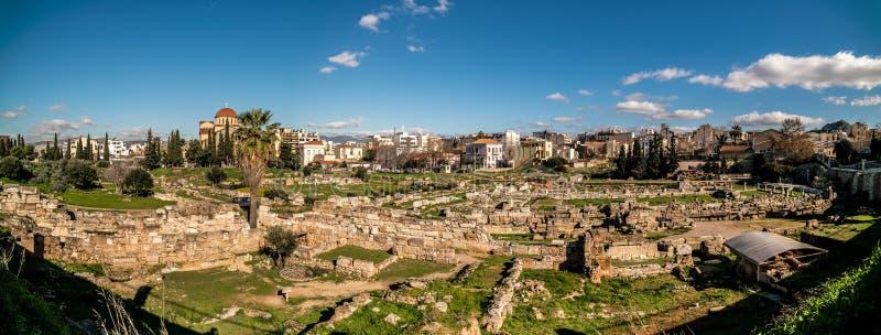 Kerameikos,雅典,希腊古老公墓  免版税库存照片