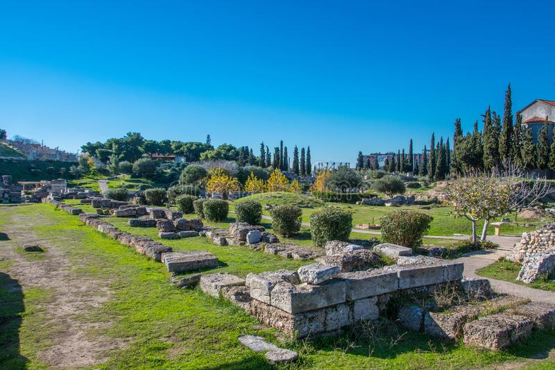 Kerameikos, the cemetery of ancient Athens in Greece. stock photo