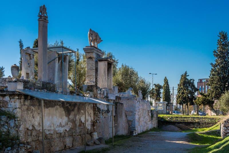 Kerameikos kyrkogården av forntida Aten i Grekland royaltyfria foton