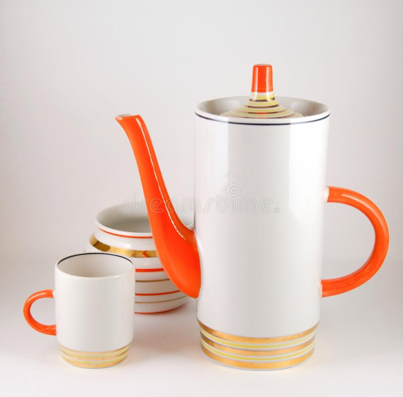 Keramik, kaffe eller teservis royaltyfria bilder
