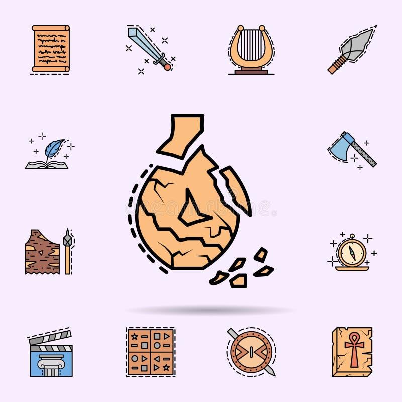 keramik som ?r bruten, krukmakeri, prydnadsymbol E vektor illustrationer