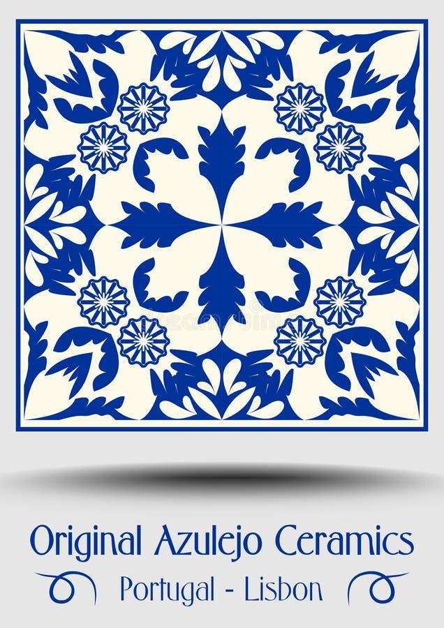Keramikziegel der Weinlese in azulejo Design mit blauen Mustern auf weißem Hintergrund stock abbildung