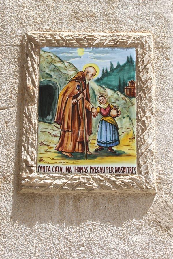Keramikziegel von Santa Catalina, Gönner von Valldemossa, Majorca lizenzfreie stockfotos