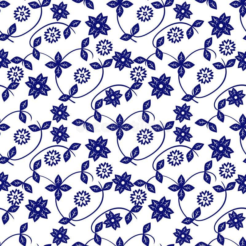 Keramisch-blau-weiße Blumenmuster Feinporzellan-Hintergrunddesign stock abbildung